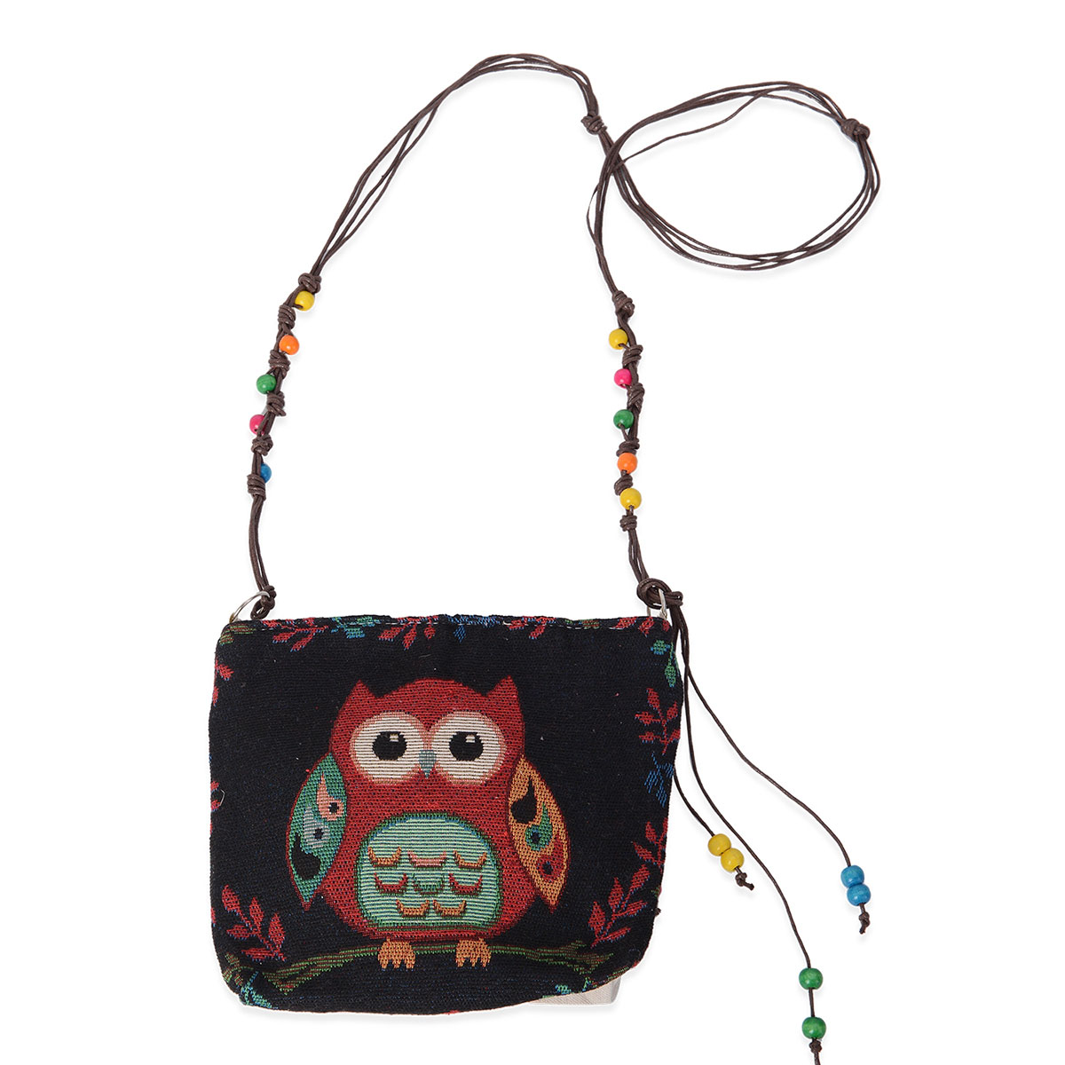 Black With Multi Color Owl And Flower Pattern Jute Crossbody Bag 8x2 3x7 In Shoulder Strap 46