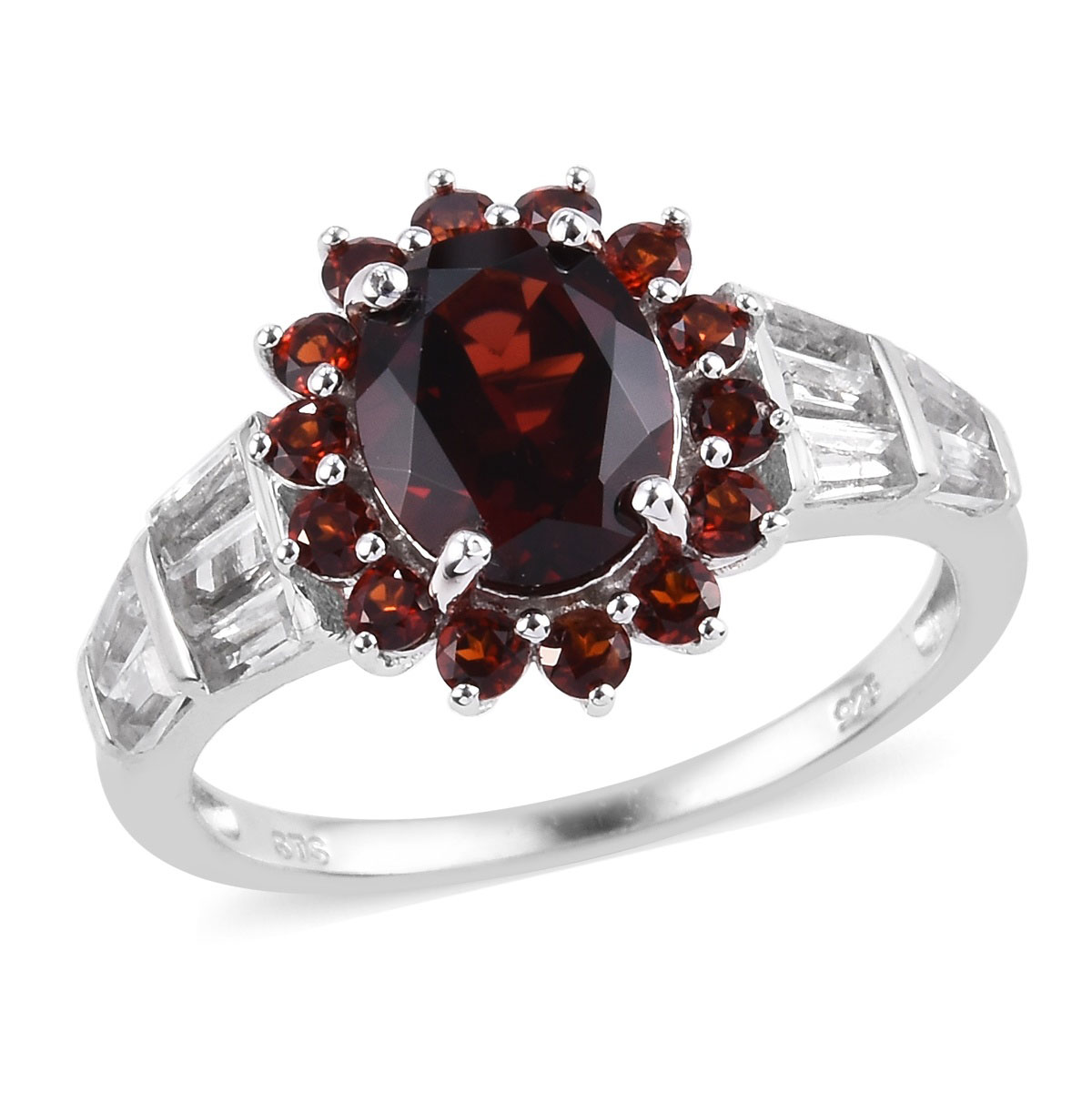 Mozambique Garnet, White Topaz Ring in Platinum Over Sterling Silver (Size  7 0) 5 15 ctw