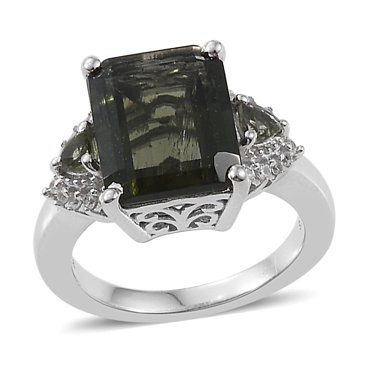 Natural Bohemian Moldavite, Cambodian Zircon Ring in Platinum Over Sterling Silver (Size 8.0) 3.80 ctw