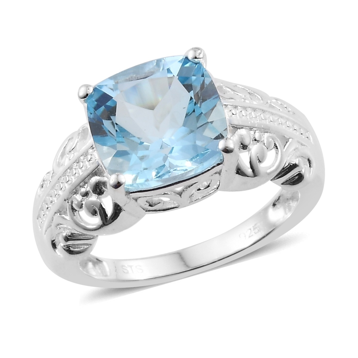 Solitaire Ring 925 Sterling Silver Cushion Sky Blue Topaz Jewelry for Women Size 11 Ct 2.3