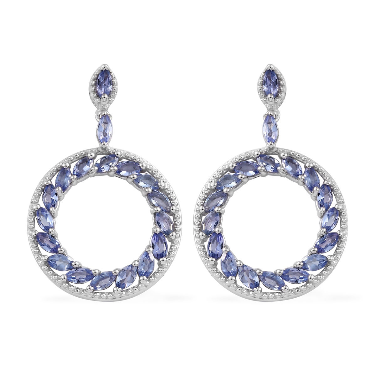 7d65620c9 Tanzanite Earrings in Platinum Over Sterling Silver 2.86 ctw | Shop LC