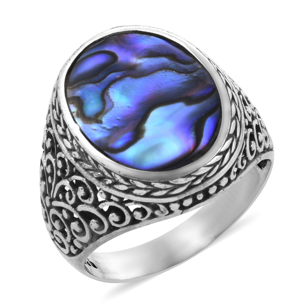 Bali Legacy Abalone Shell Ring in Sterling Silver (Size 9.0)