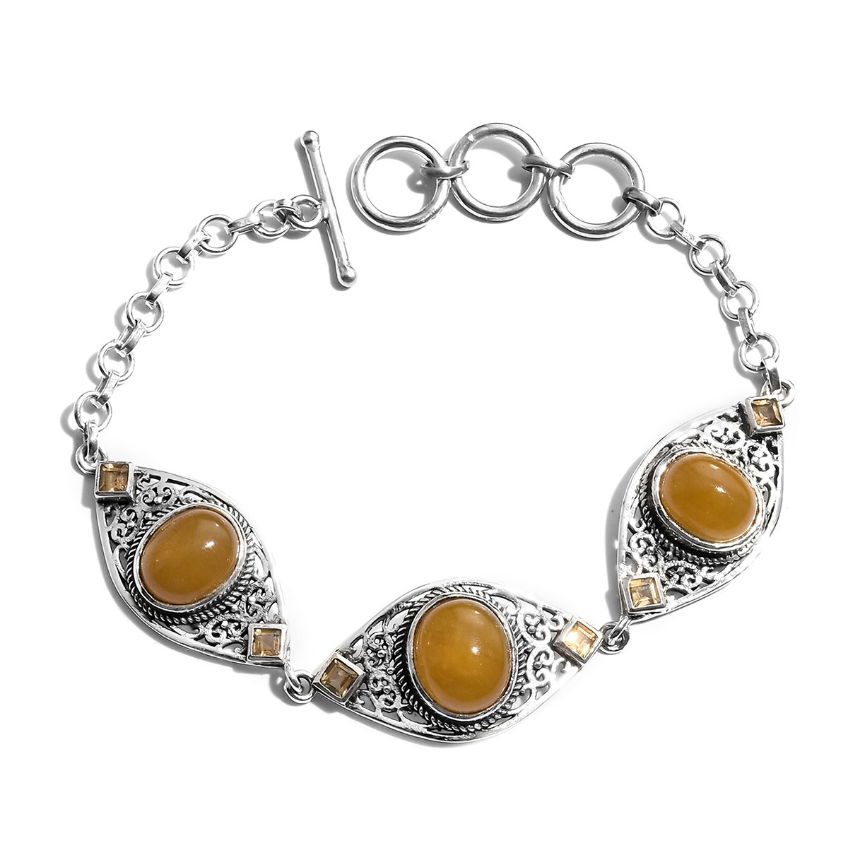 8a3e45bc82f48f Memorial Day Artisan Crafted Burmese Yellow Jade, Brazilian Citrine Bracelet  in Sterling Silver (8.00 In) 16.69 ctw | Shop LC