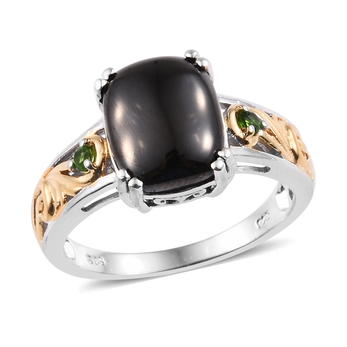 Silver Shungite, Russian Diopside Ring in Vermeil YG & Platinum Over  Sterling Silver (Size 7 0) 3 55 ctw