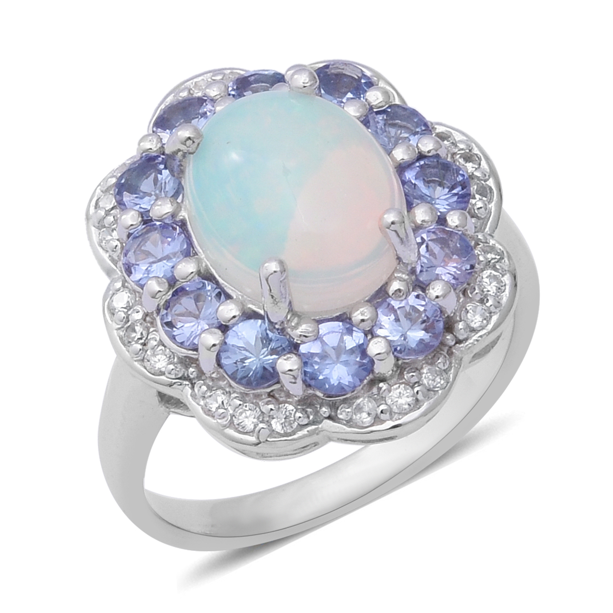 Ethiopian Welo Opal, Multi Gemstone Ring in Platinum Over Sterling Silver (Size 6.0) 3.86 ctw