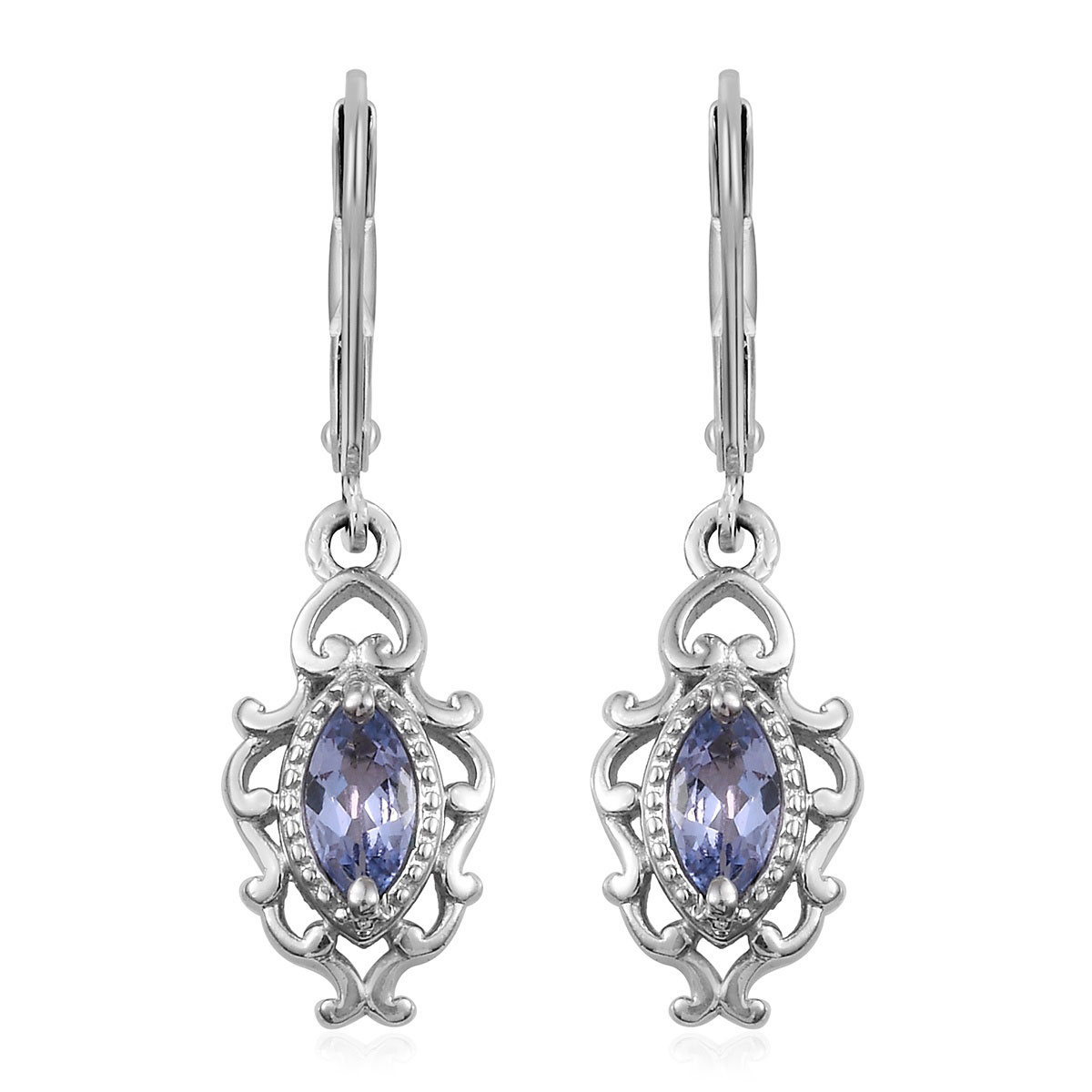76871ae6f081d Tanzanite Lever Back Earrings in Platinum Over Sterling Silver 0.68 ctw