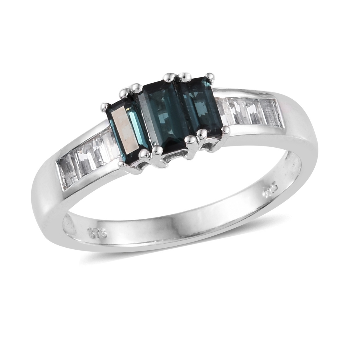 Monte Belo Indicolite, White Topaz Ring in Platinum Over Sterling Silver (Size 10.0) 1.28 ctw