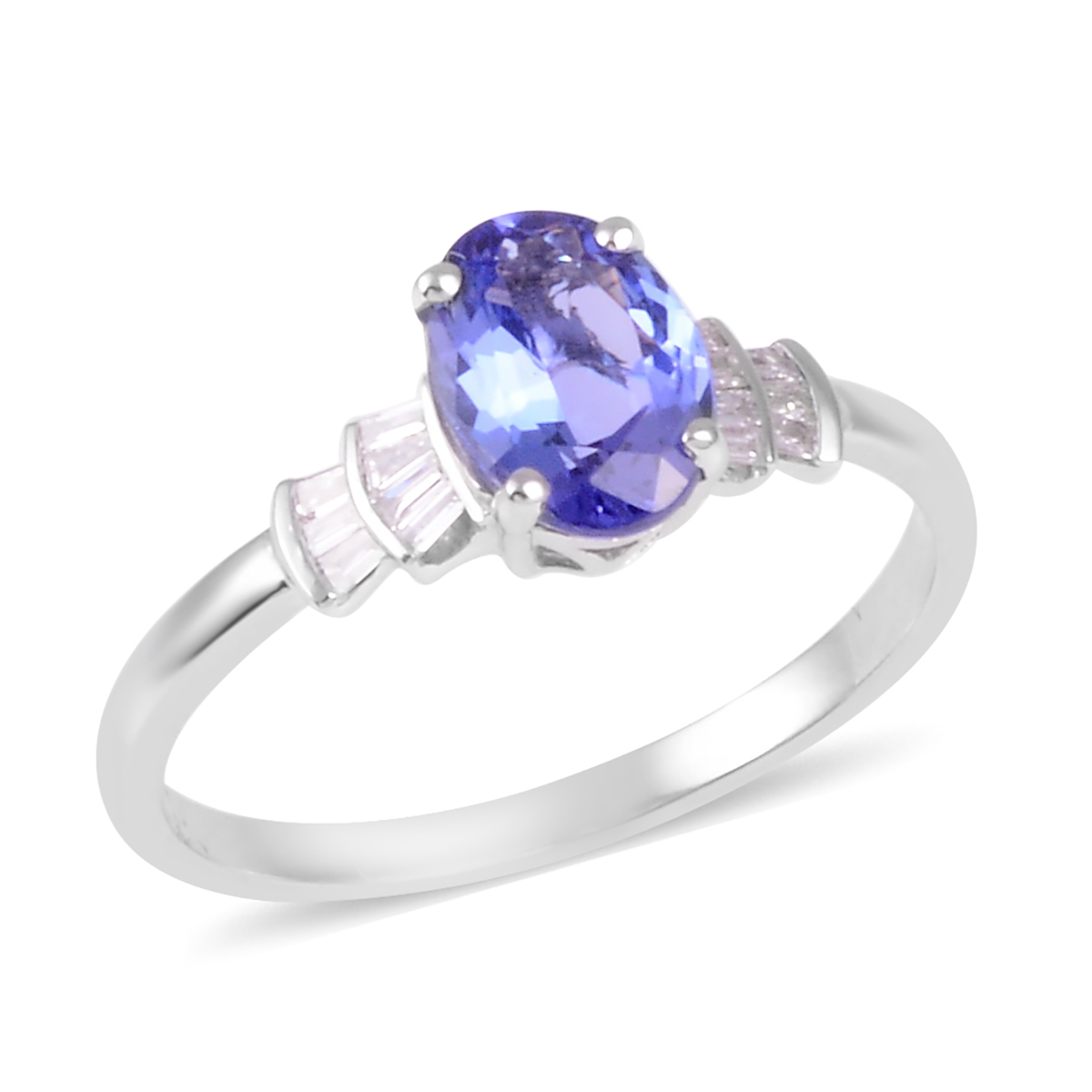 ILIANA AAA Premium Tanzanite, Diamond (0.10 ct) Ring in 18K White Gold (Size 7.0) 1.15 ctw