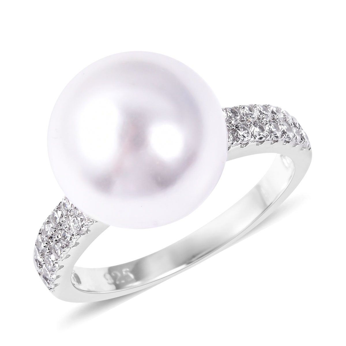 Shell Pearl, White CZ Ring in Sterling Silver (Size 8.0) 0.56 ctw