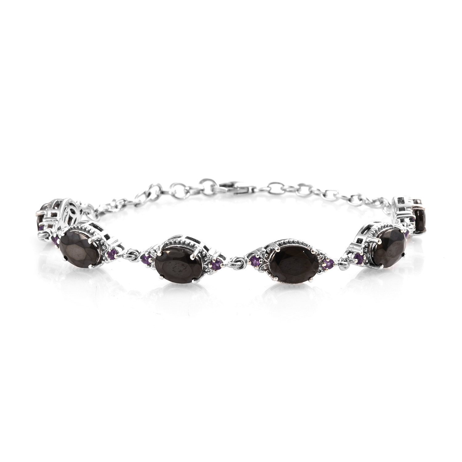 Shungite, Amethyst Bracelet in Platinum Over Sterling Silver (8.00 In) 7.31 ctw