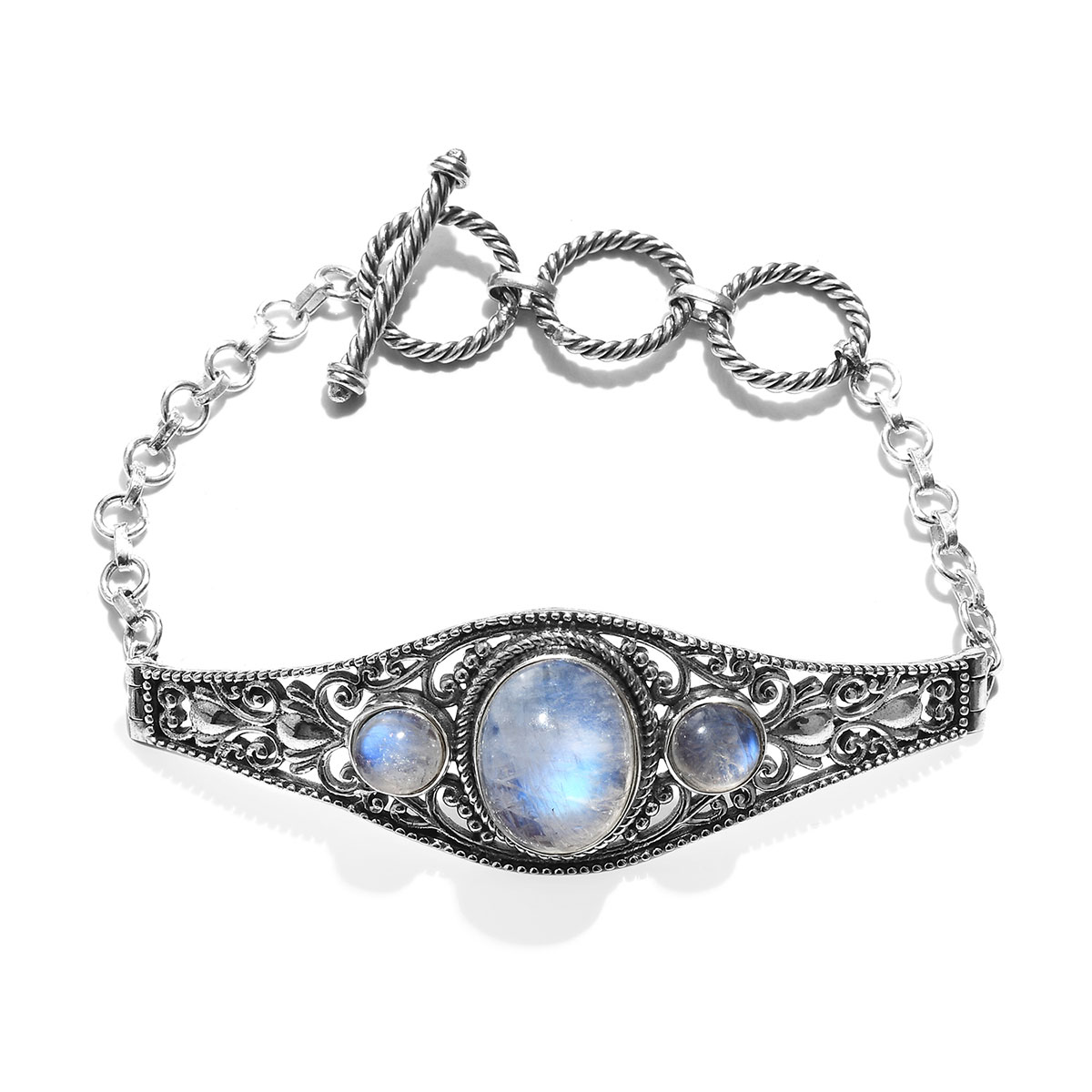 Crafted Rainbow Moonstone Bracelet In Sterling Silver 8 00 13 88 Ctw