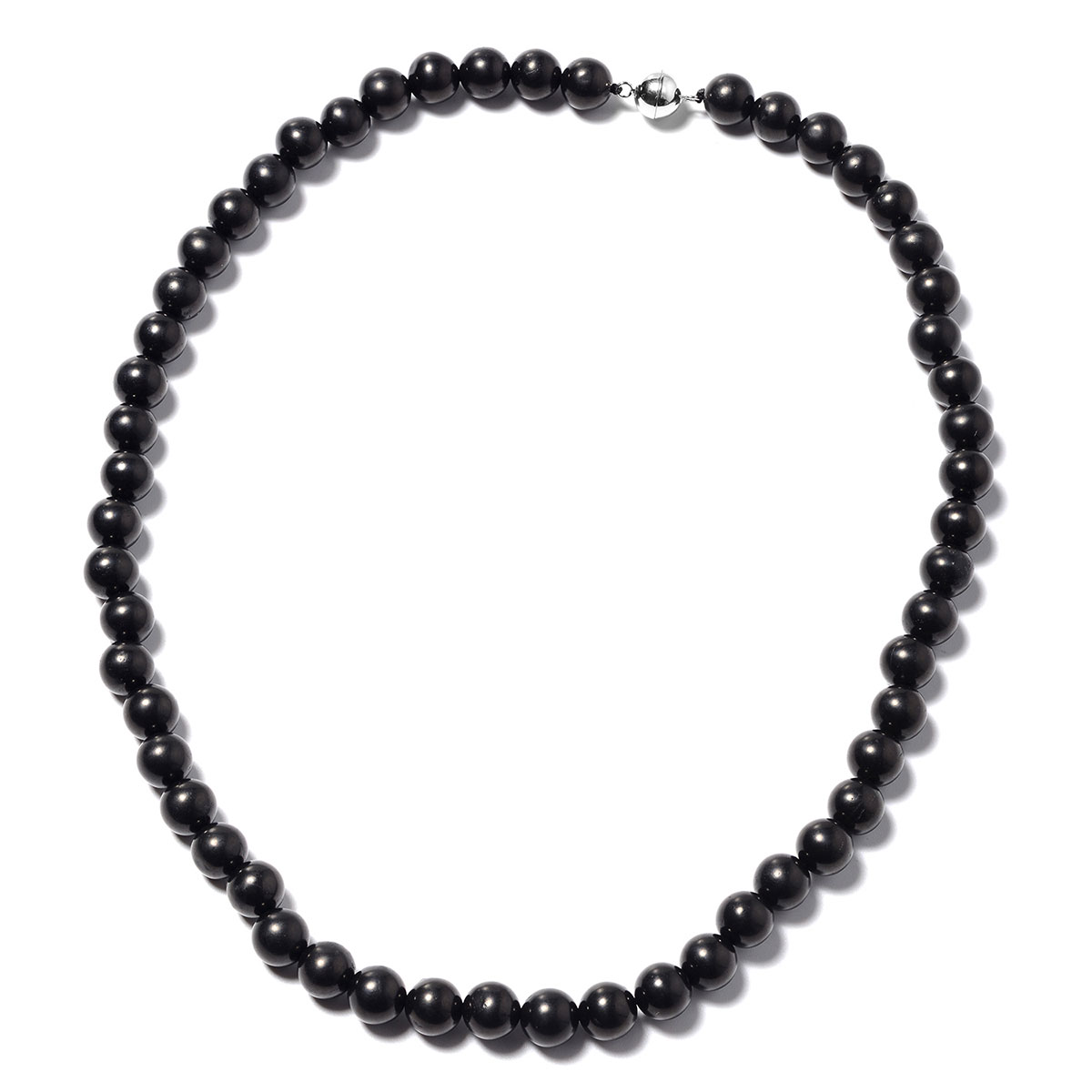 Shungite Bead Magnetic Clasp Necklace (18 in) in Sterling Silver 130 01 ctw