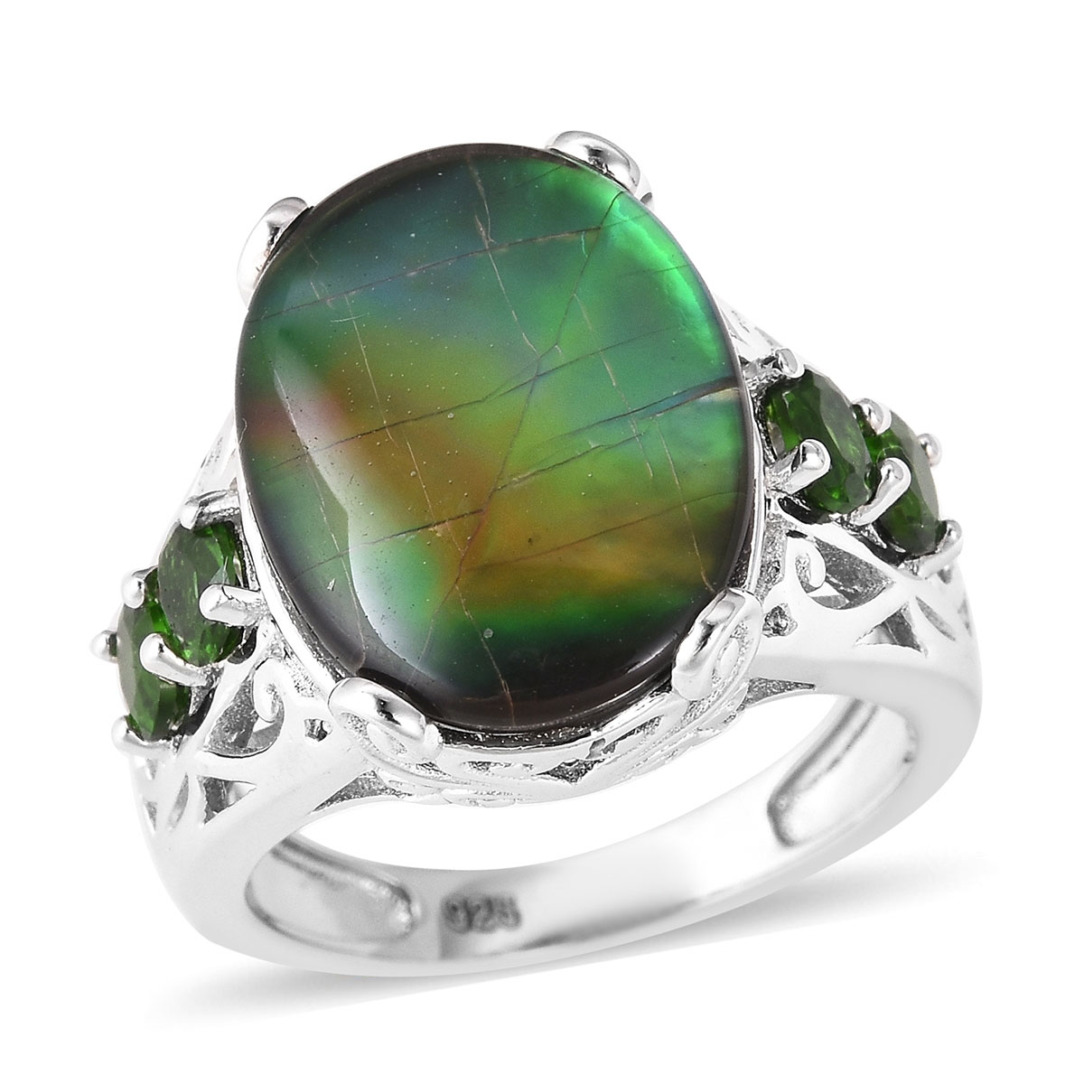 Canadian Ammolite, Russian Diopside Ring in Sterling Silver (Size 6.0) 0.84 ctw