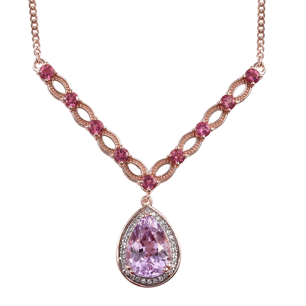 AA Premium Martha Rocha Kunzite, Multi Gemstone Necklace (18-20 in) in Vermeil RG Over Sterling Silver 9.12 ctw