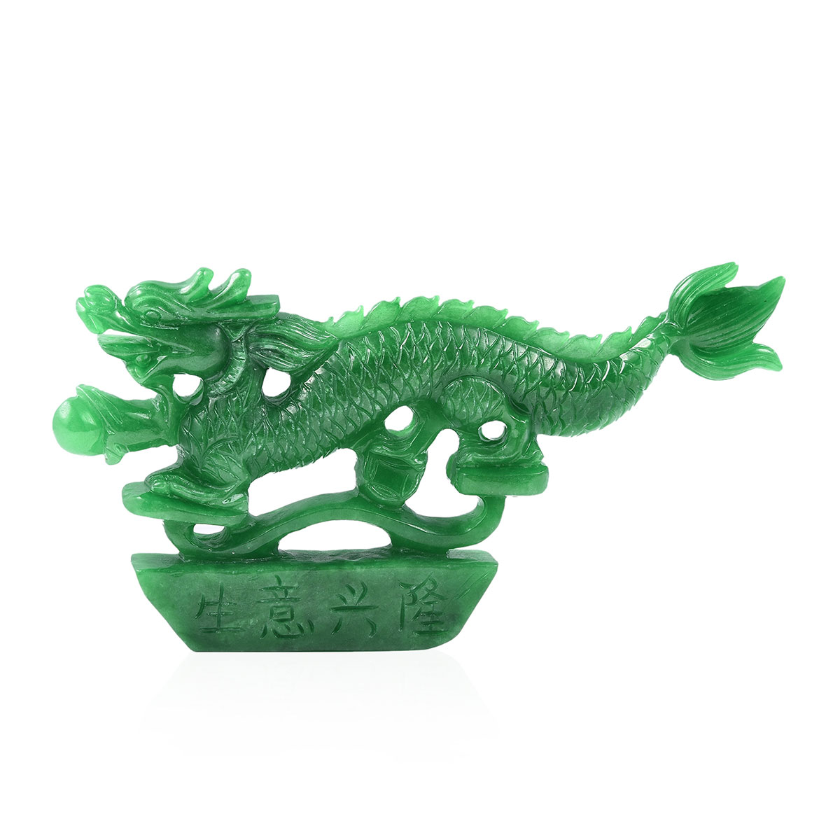 Jade Nile hand carved burmese green jade chinese dragon home decor (4x4.5 in) 929ctw