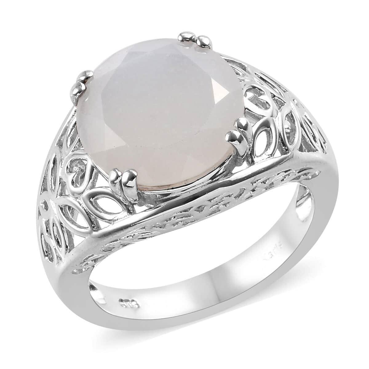 Karis Sri Lankan Silver Moonstone Ring In Platinum Bond Brass Size 50 825 Ctw