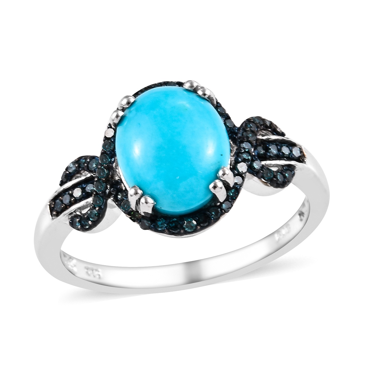 Arizona Turquoise Pave Diamond 925 Sterling Silver Propose Ring Size 5 to 12