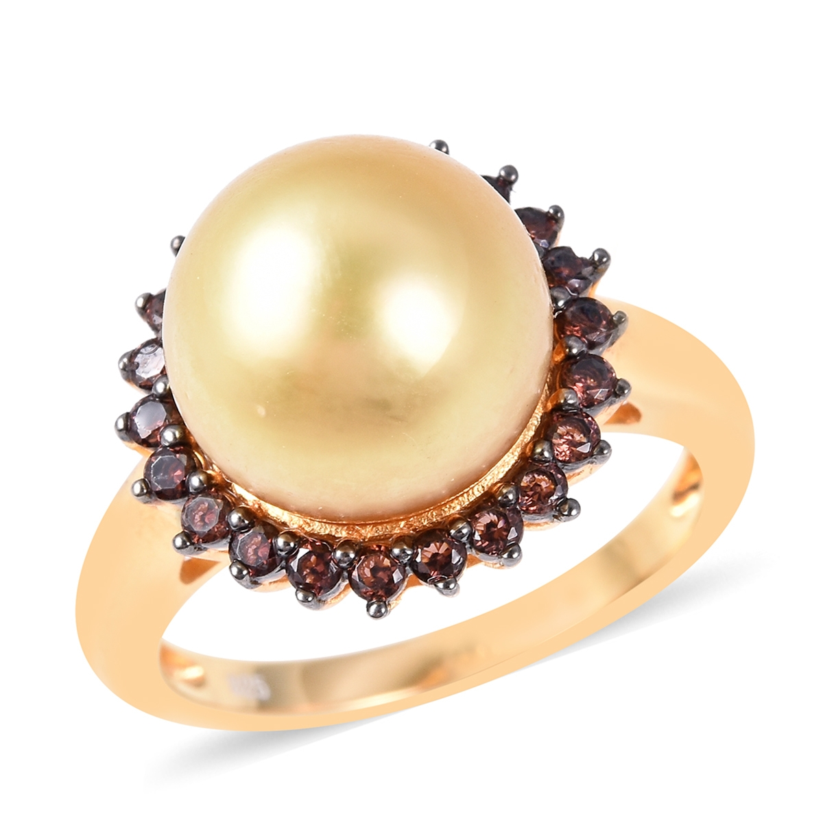 South Sea Golden Cultured Pearl 12 mm, Coffee Zircon Ring in Vermeil YG Over Sterling Silver (Size 6.0) 1.00 ctw