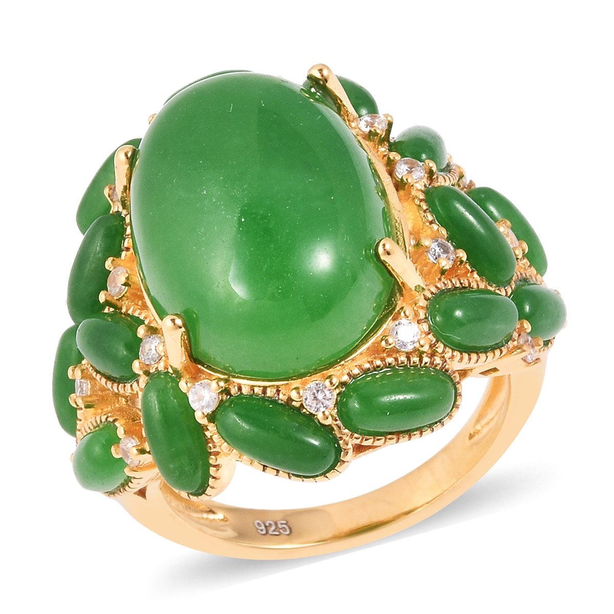 Burmese Green Jade, White Zircon Ring in Vermeil YG Over Sterling Silver (Size 8.0) 21.20 ctw
