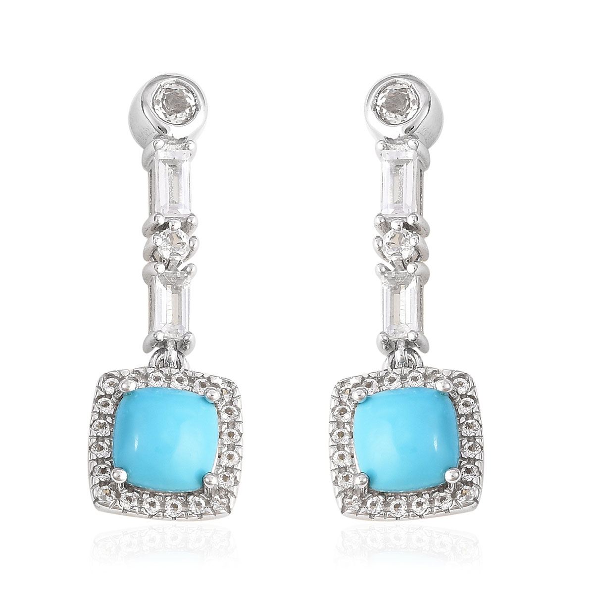 Arizona Sleeping Beauty Turquoise White Topaz Earrings In Sterling Silver 2 66 Ctw