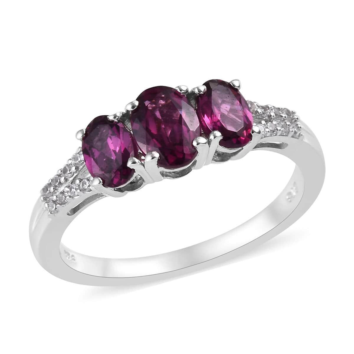 Orissa Rhodolite Garnet, Zircon Ring in Platinum Over Sterling Silver (Size 9.0) 2.18 ctw
