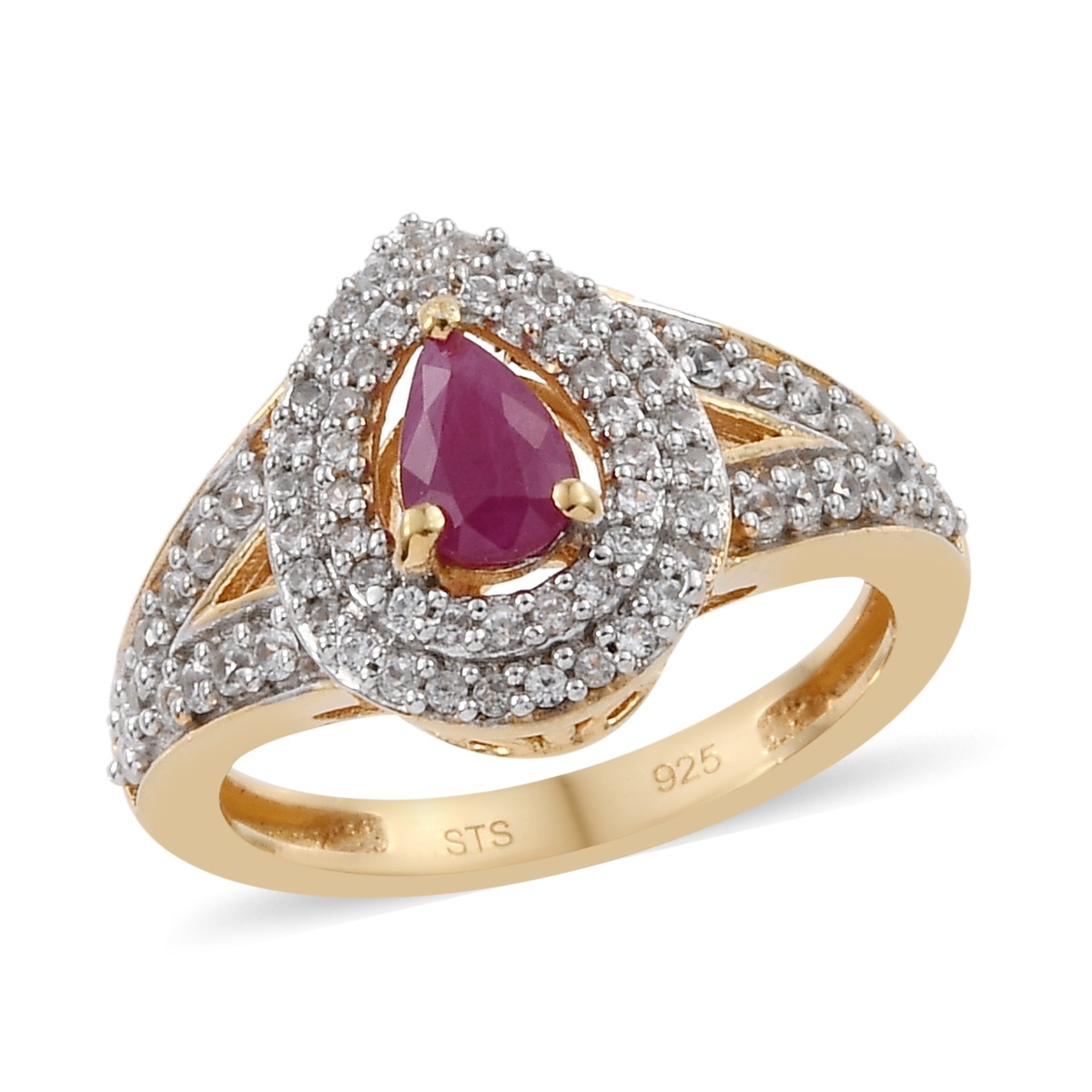 Burmese Ruby, Zircon Ring in Vermeil YG Over Sterling Silver (Size 7.0) 1.09 ctw