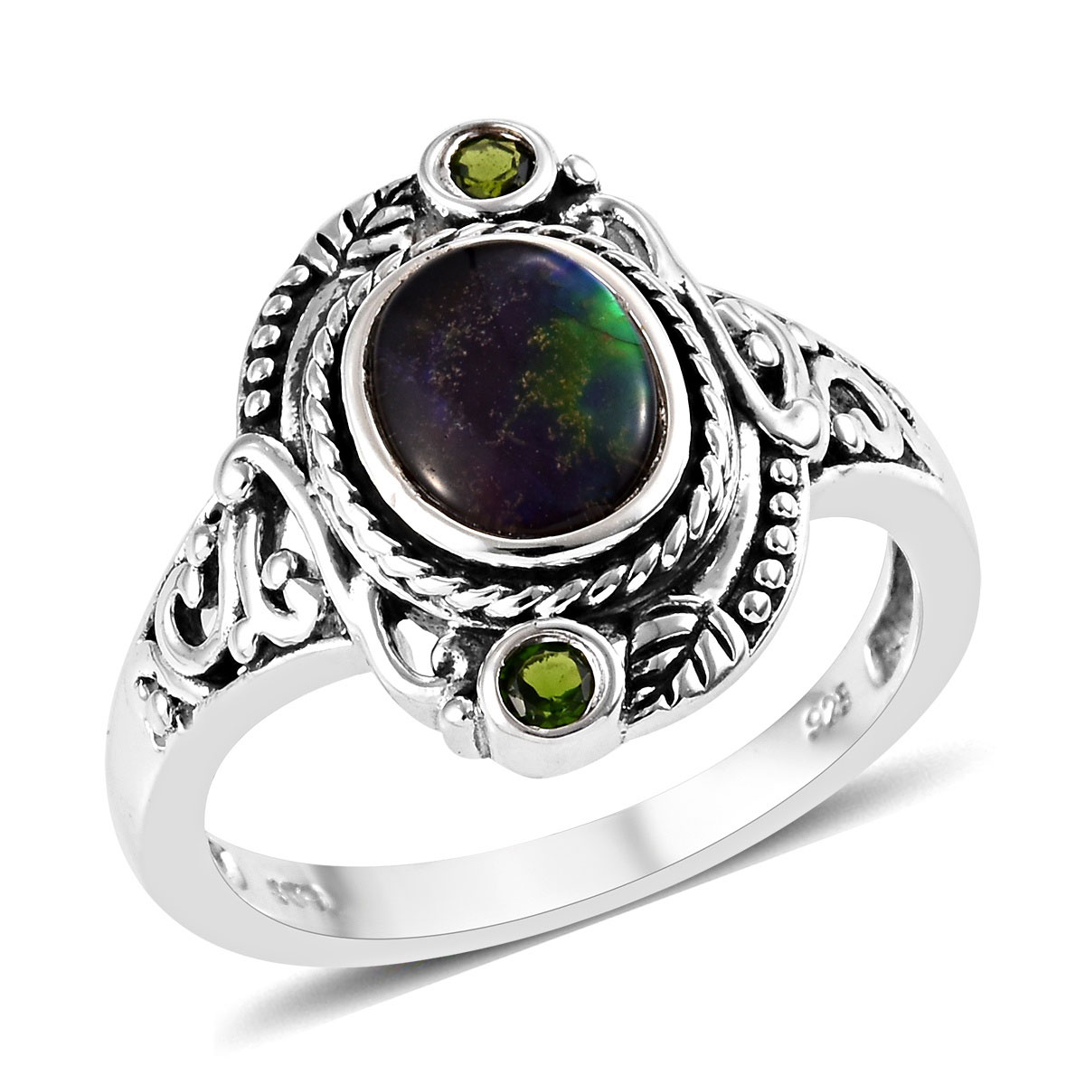 Canadian Ammolite, Russian Diopside Ring in Sterling Silver (Size 9.0) 1.66 ctw