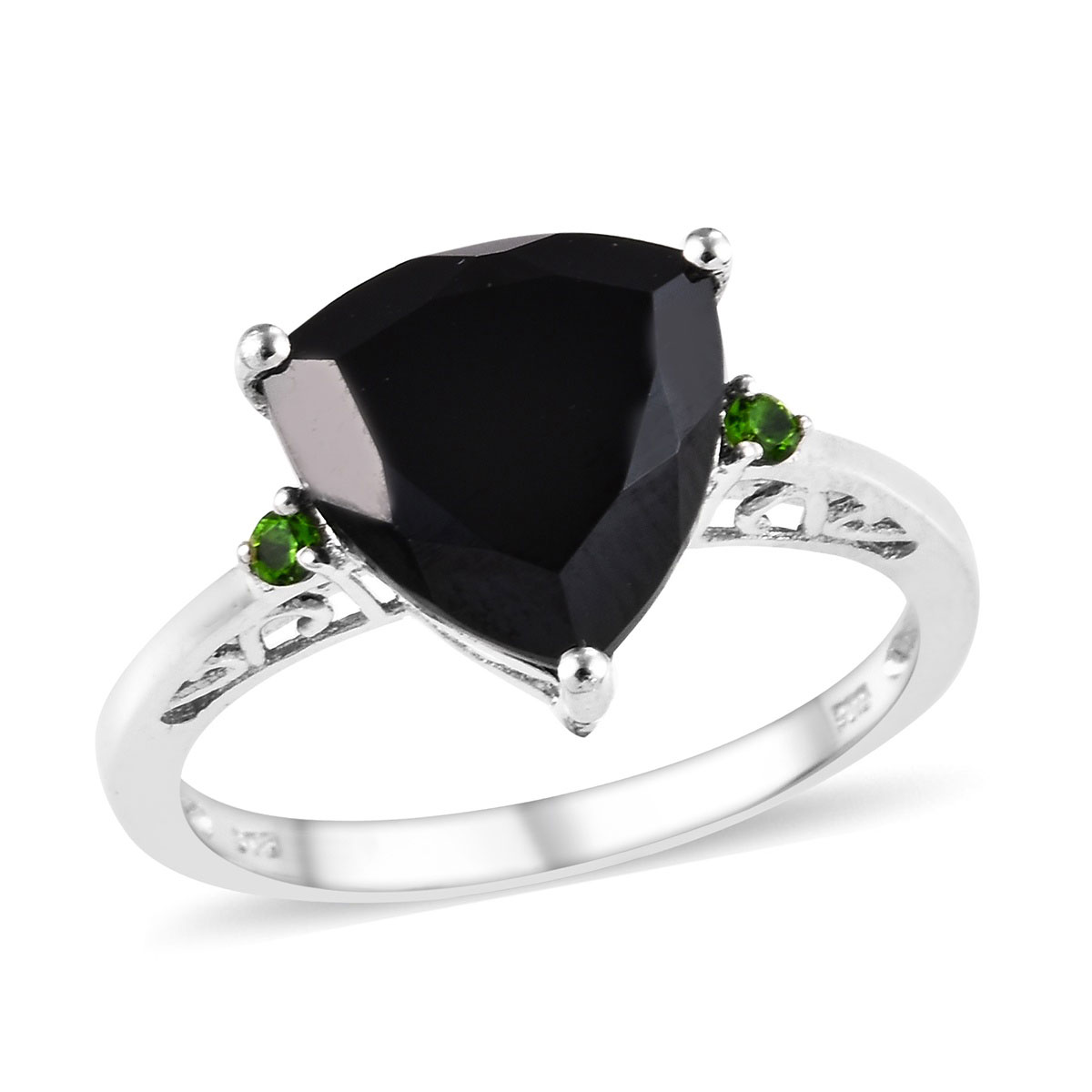 Thai Black Spinel, Russian Diopside Ring in Platinum Over Sterling Silver (Size 9.0) 7.60 ctw