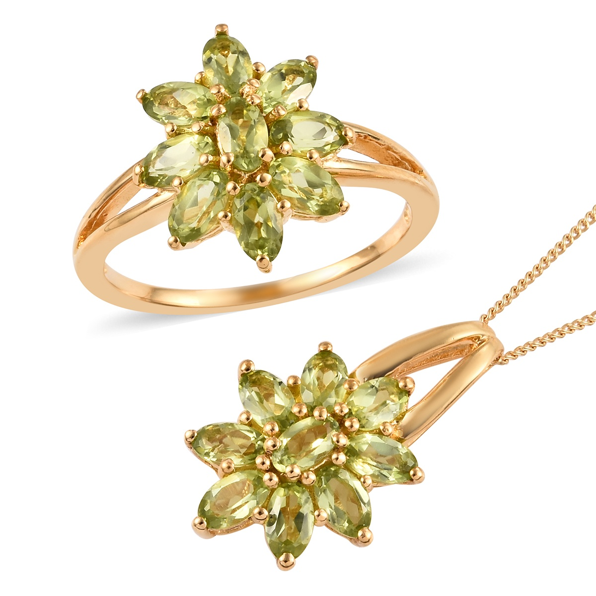Hebei Peridot Ring (Size 10) and Pendant Necklace (20 in) in Vermeil YG Over Sterling Silver 4.20 ctw