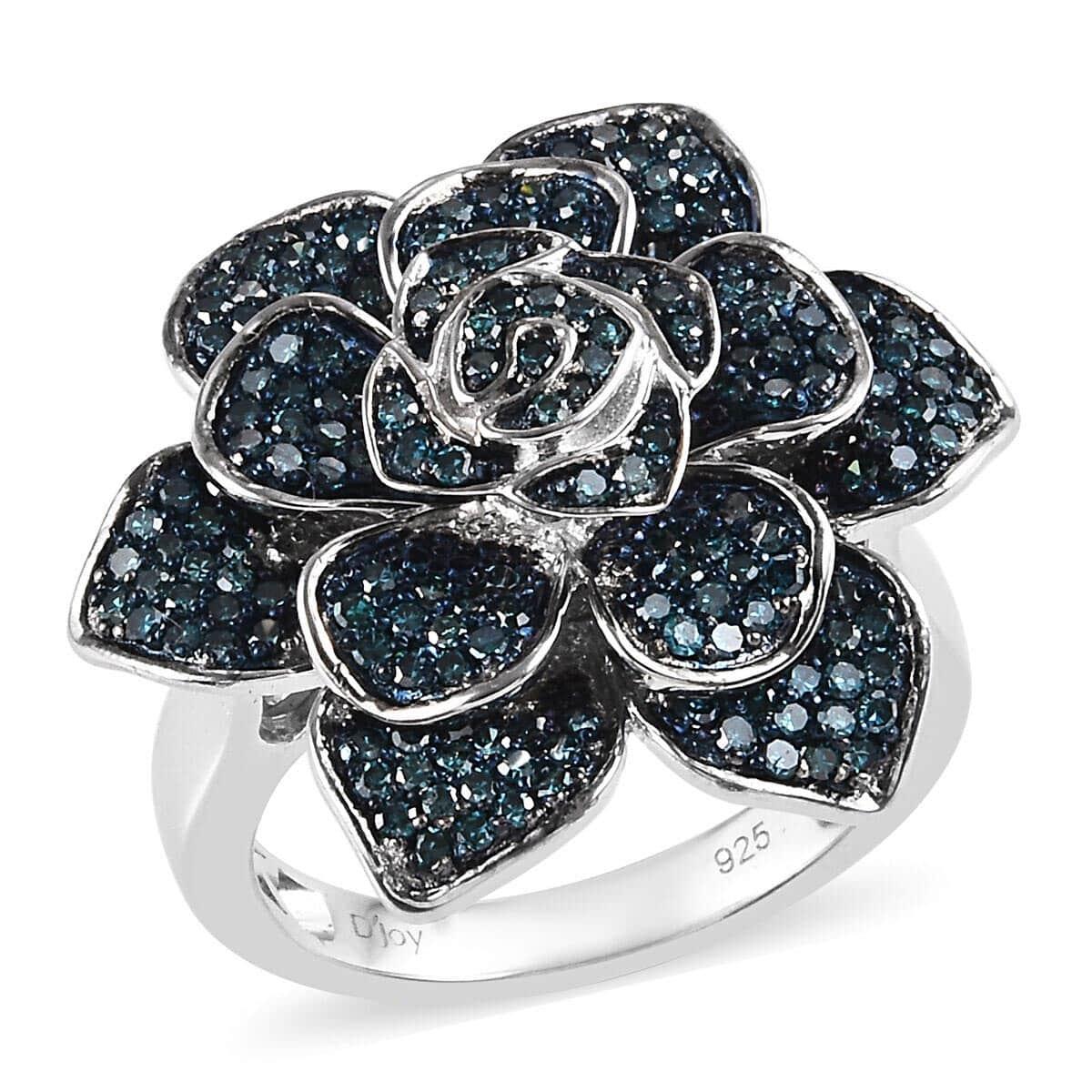 Blue Diamond Mens Cluster Earrings 1//6ct 925 Sterling Silver
