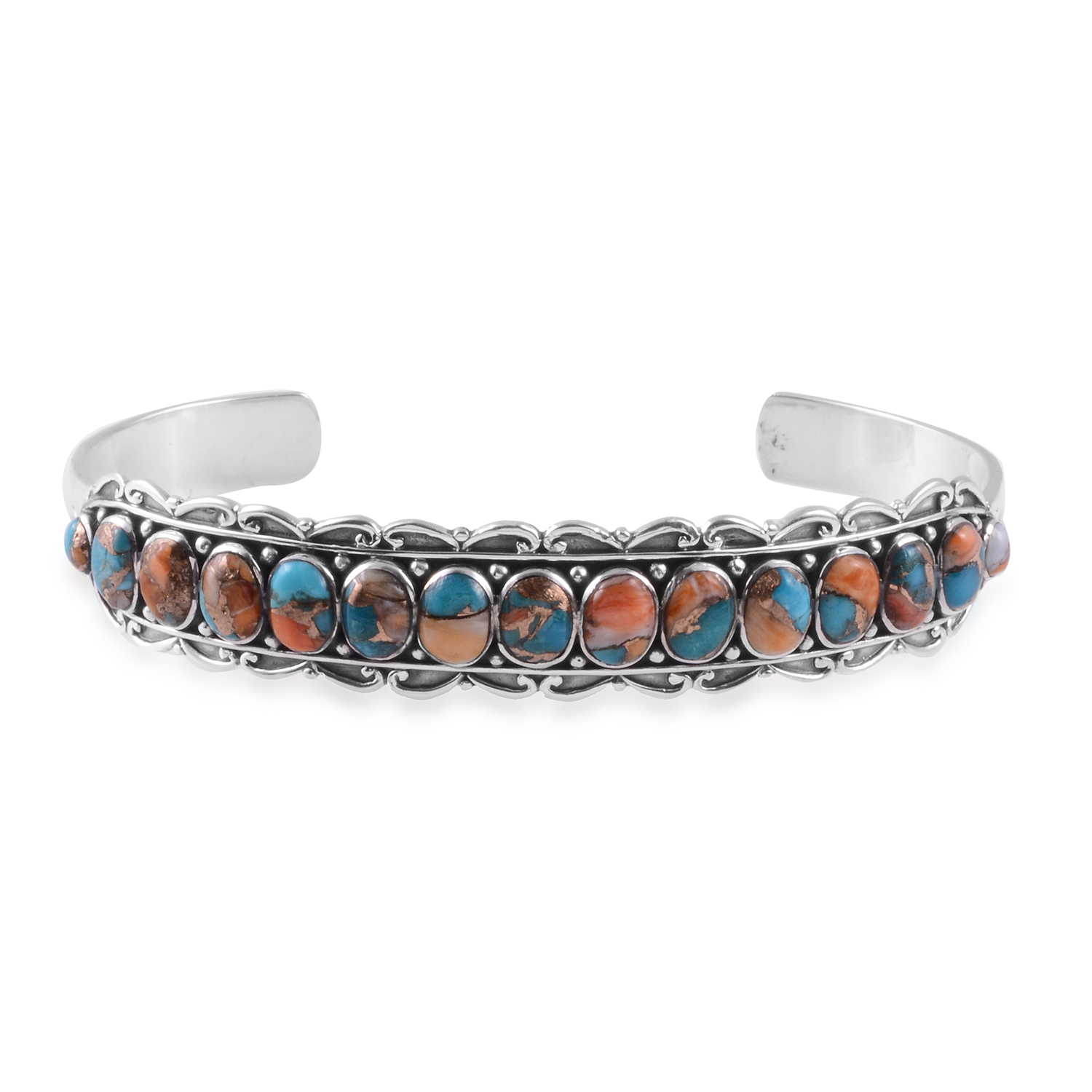 Santa Fe Style Spiny Turquoise Cuff Bracelet in Sterling Silver (7.00 In) 6.00 ctw