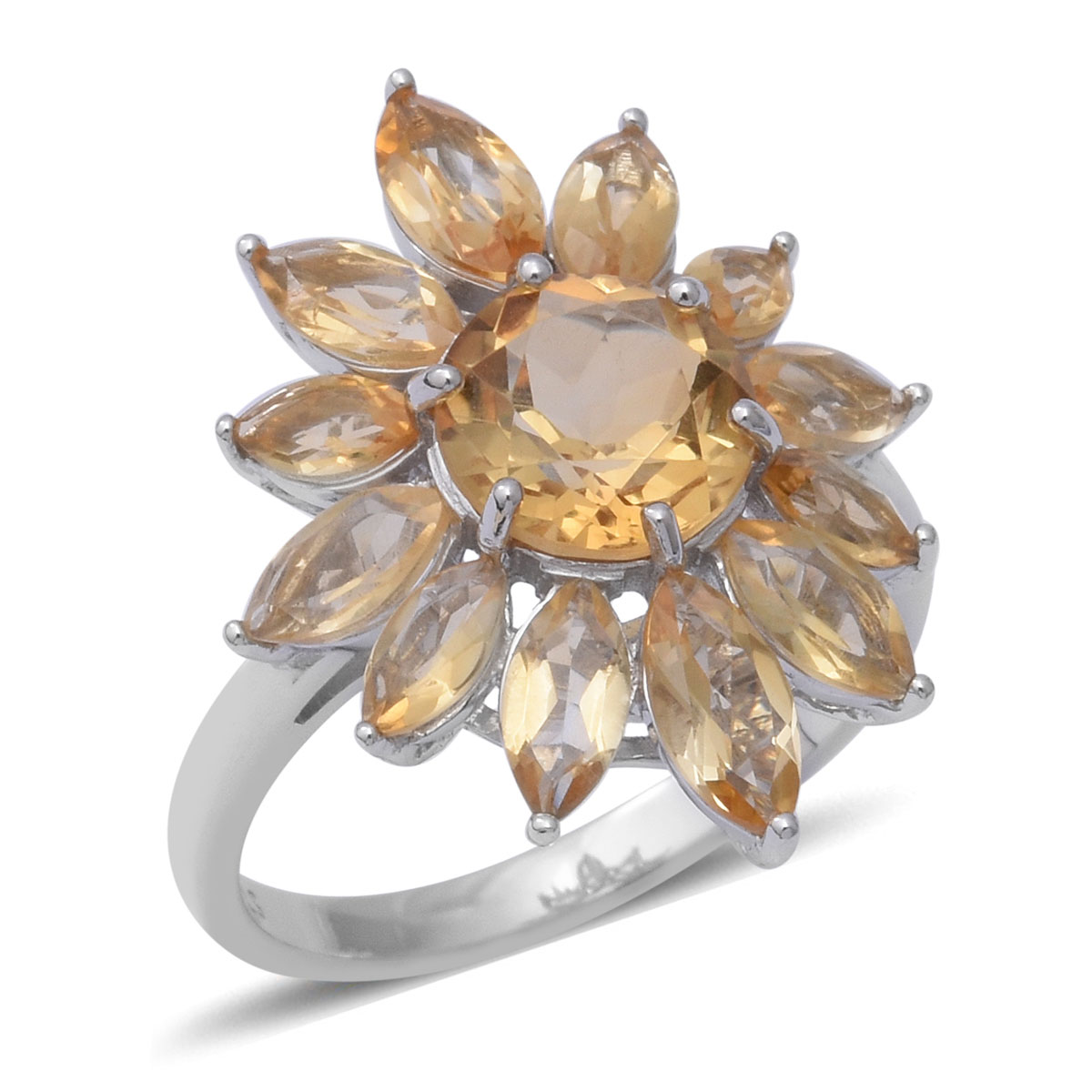 Brazilian Citrine Ring in Platinum Over Sterling Silver (Size 6.0) 6.29 ctw