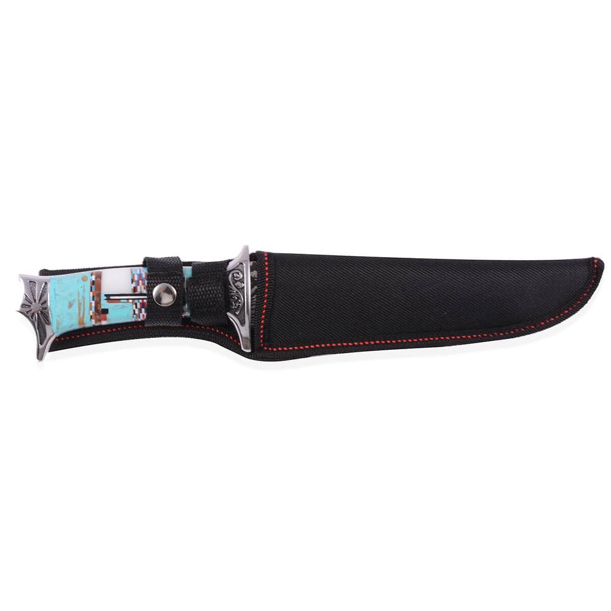 Canvas Santa Fe >> Santa Fe Style Multi Gemstone Engraved Dagger Knife With Canvas Sheath 60cts