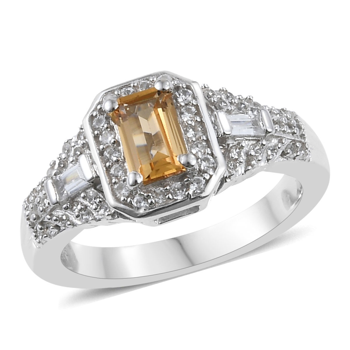 Golden Imperial Topaz, Zircon Ring in Platinum Over Sterling Silver (Size 9.0) 1.04 ctw