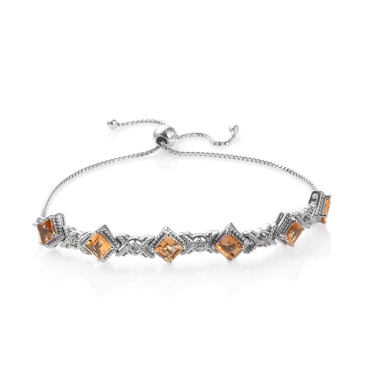 Golden Imperial Topaz, Zircon Bolo Bracelet in Platinum Over Sterling Silver 3.53 ctw