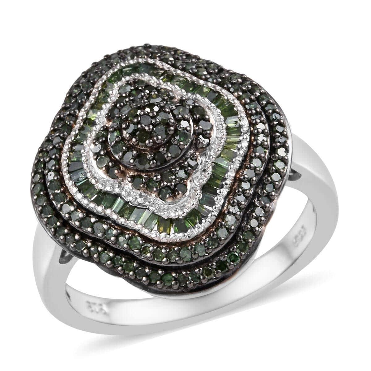 ST Girls Blue Topaz Black Spinel Platinum Over Silver Cluster Ring
