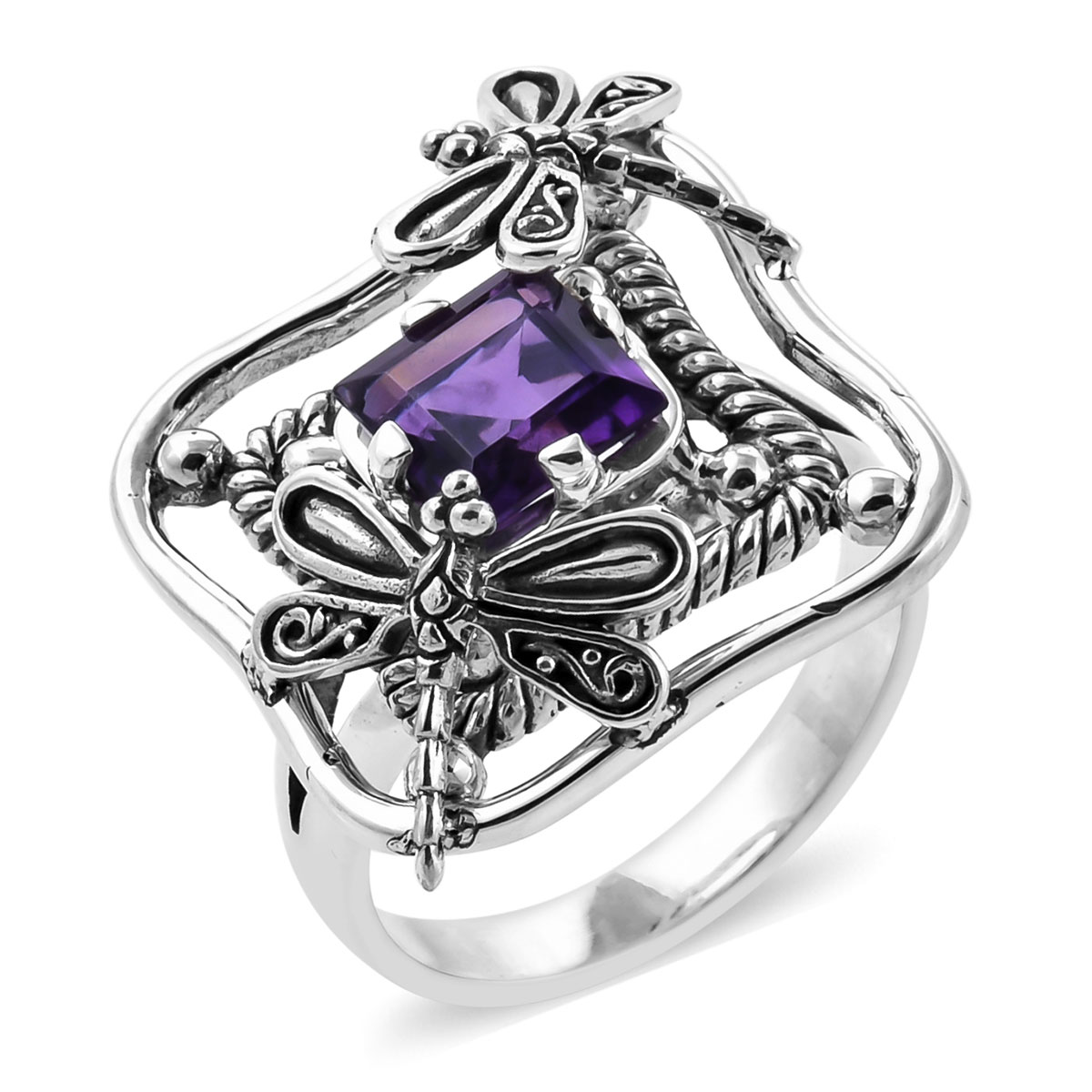 BALI LEGACY Amethyst Ring in Sterling Silver (Size 8.0) (Avg. 7 g) 1.64 ctw