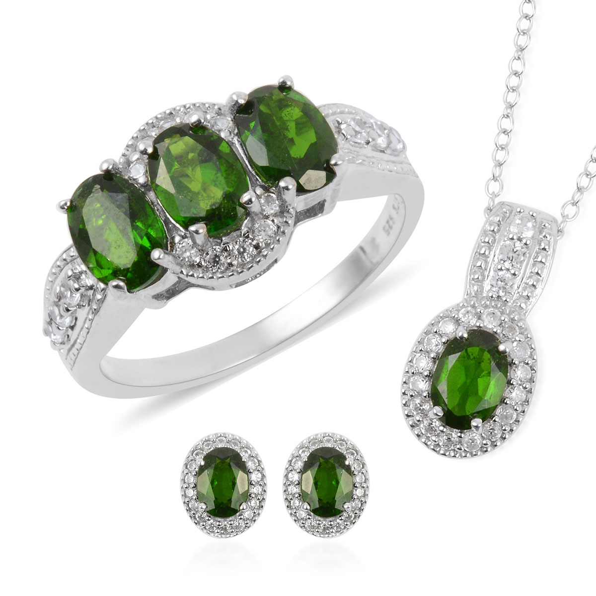Russian Diopside, White Zircon Earrings, Ring (Size 8) and Pendant Necklace (18 in) in Platinum Over Sterling Silver 6.16 ctw