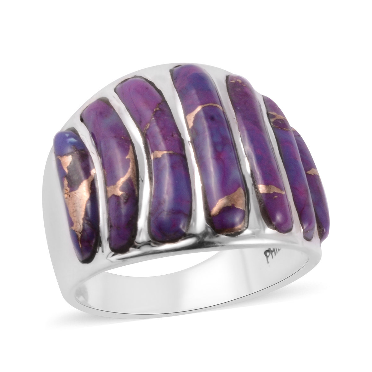 Santa Fe Style Mojave Purple Turquoise Ring in Sterling Silver (Size 8.0) 7.00 ctw