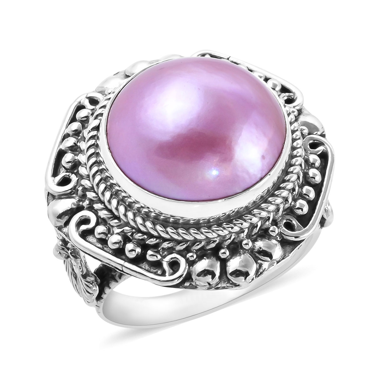 Artisan Crafted STERLING SILVER 925 Pink Cultured Mabe Pearl Ring Size 8