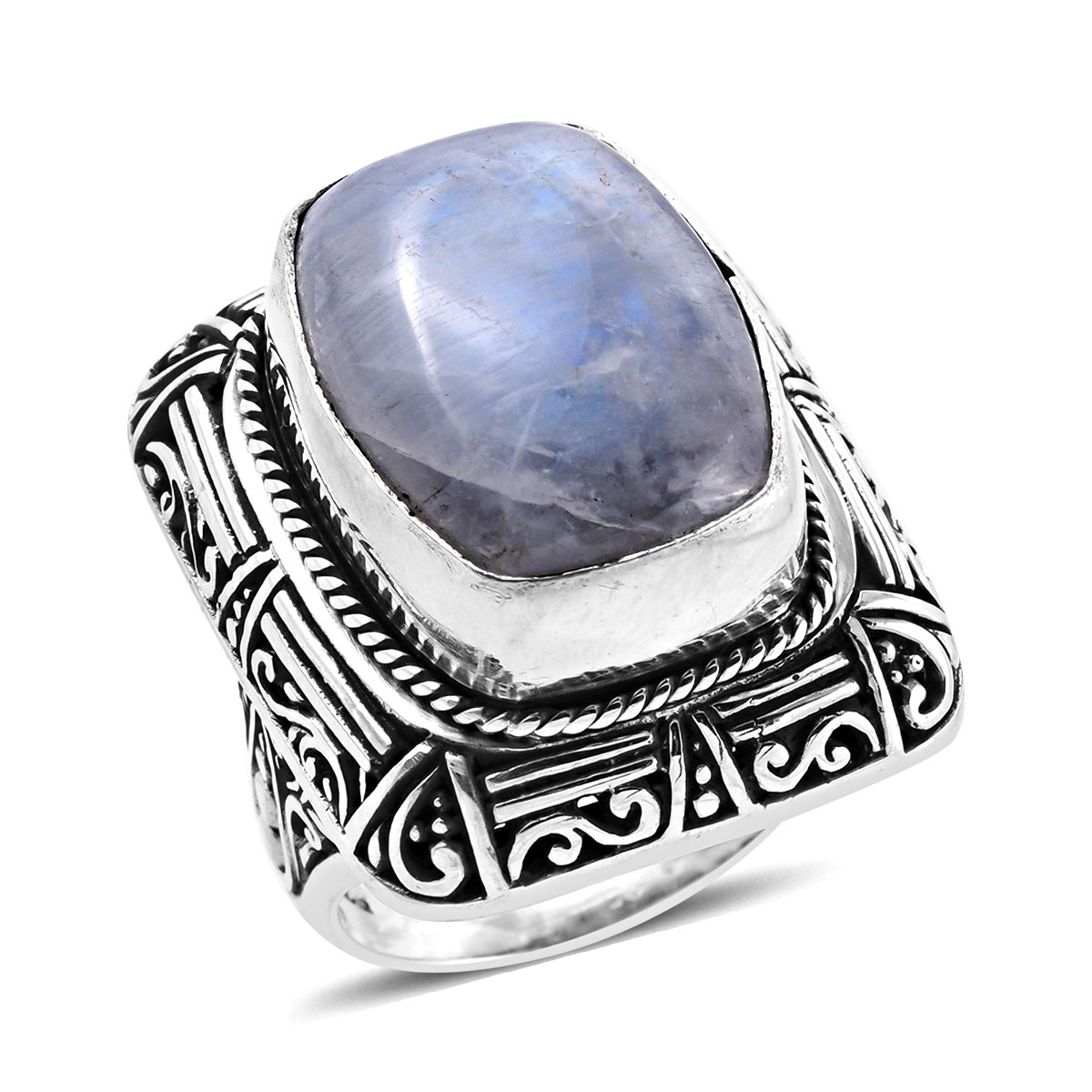 Great Jewelry Greatest Item Gift for Friend Real Gemstones Round Faceted Rainbow Moonstone Ring 925 Sterling Silver White Rainbow Moonstone Real Gemstones Ring
