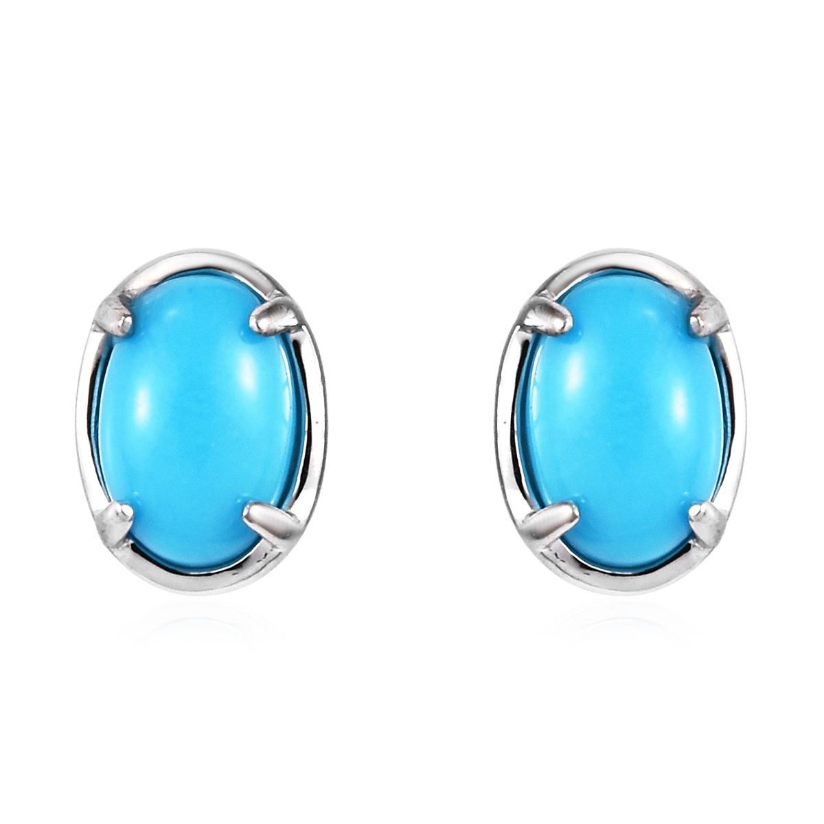 Arizona Sleeping Beauty Turquoise Stud Earrings in 14K White Gold 0.94 ctw