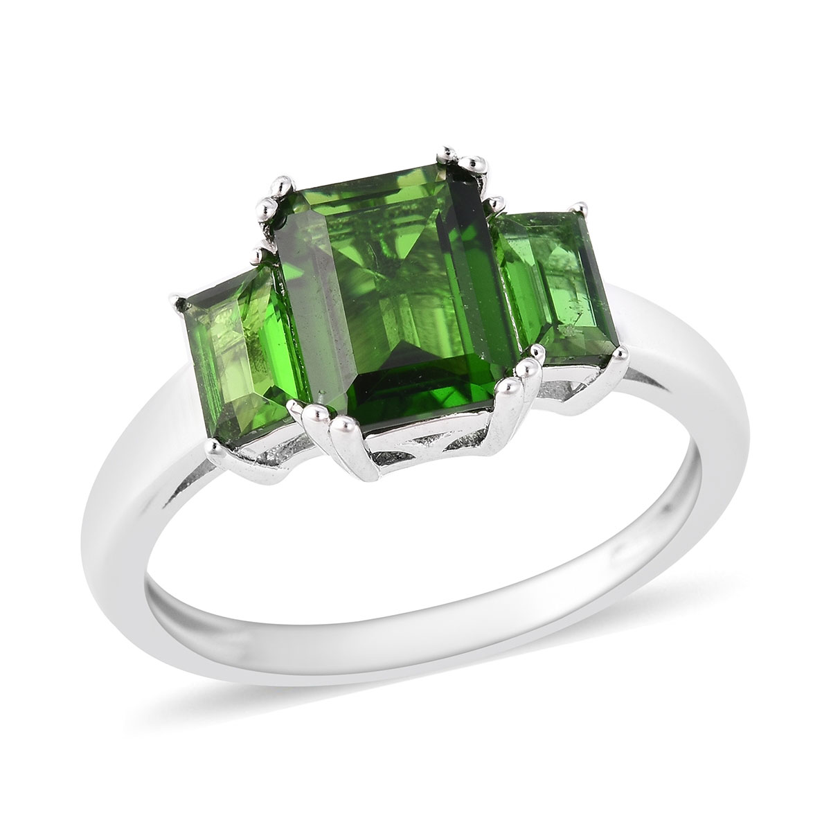 Russian Diopside Trilogy Ring in Sterling Silver (Size 6.0) 2.04 ctw
