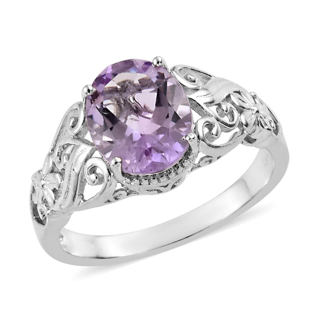 KARIS Rose De France Amethyst Ring in Platinum Bond Brass (Size 11.0) 3.20 ctw