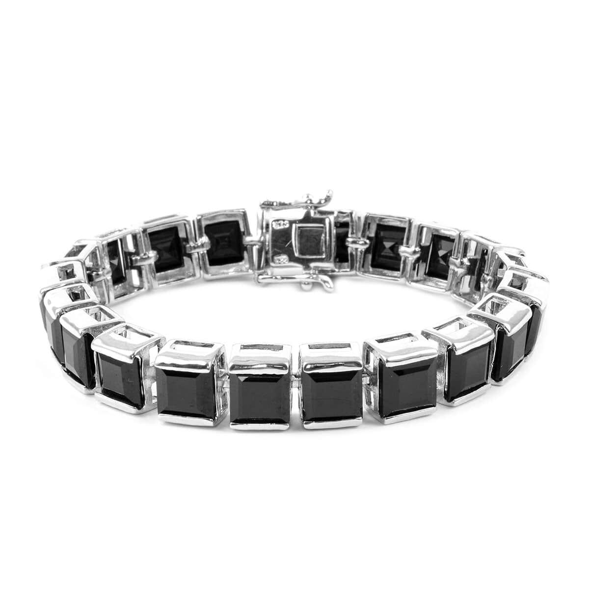 Thai Black Spinel Bracelet in Platinum Over Sterling Silver (6 50 In) (25  g) 44 20 ctw