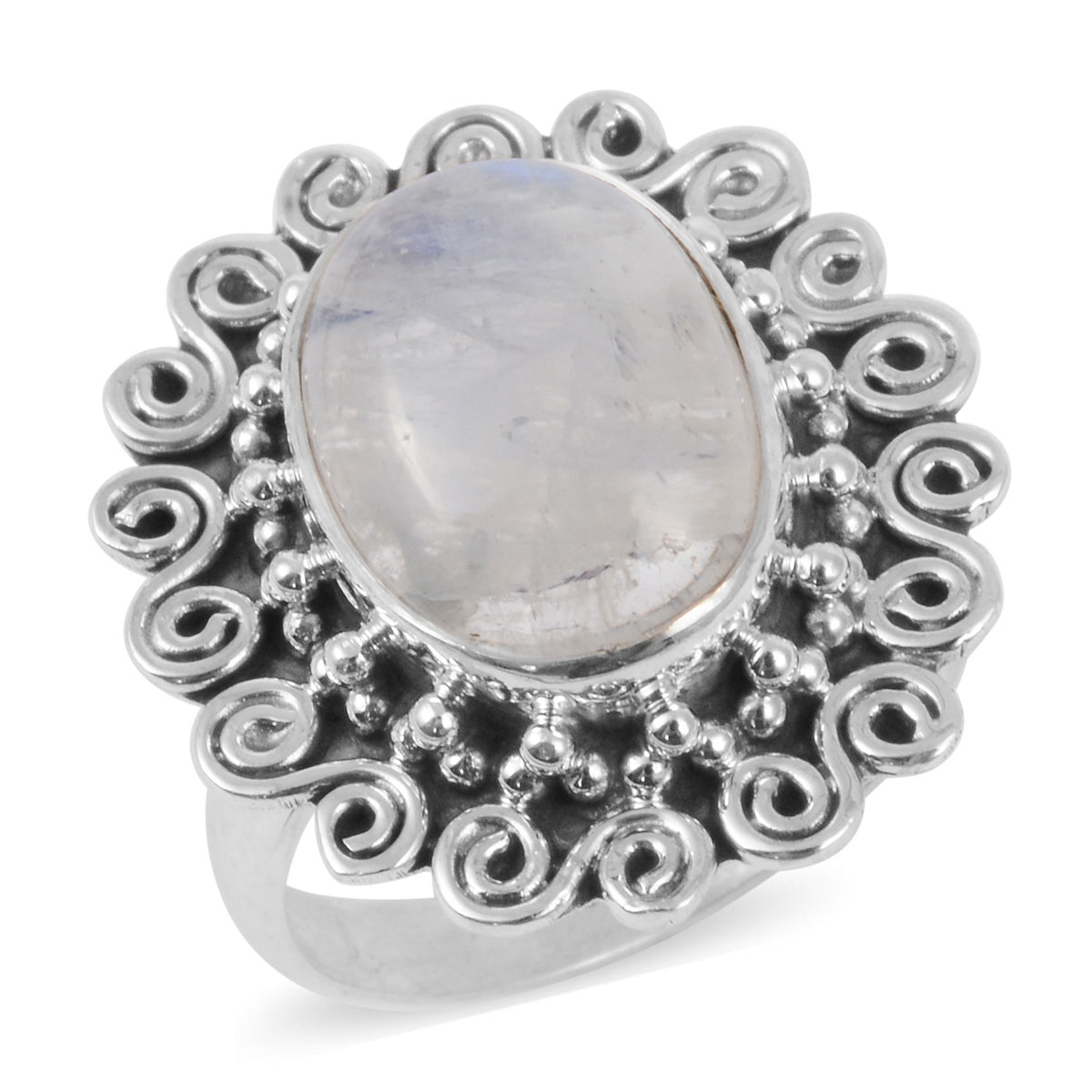 White Moonstone Sterling Silver Ring (Size 7) 4.25 ctw