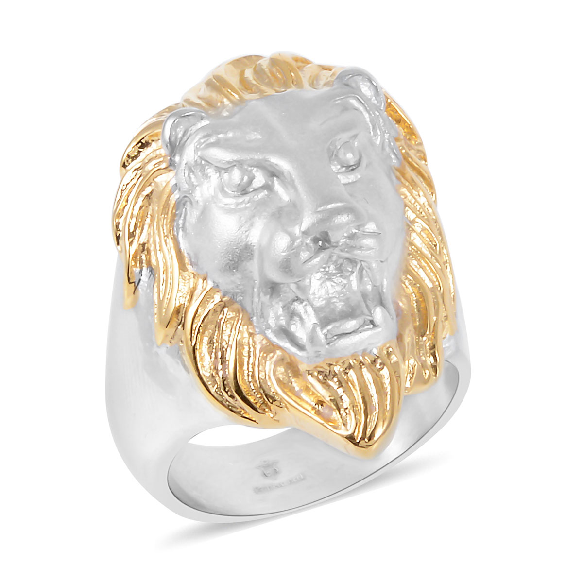 African Lion Large and Bold Stainless Steel Mens Ring Size 12