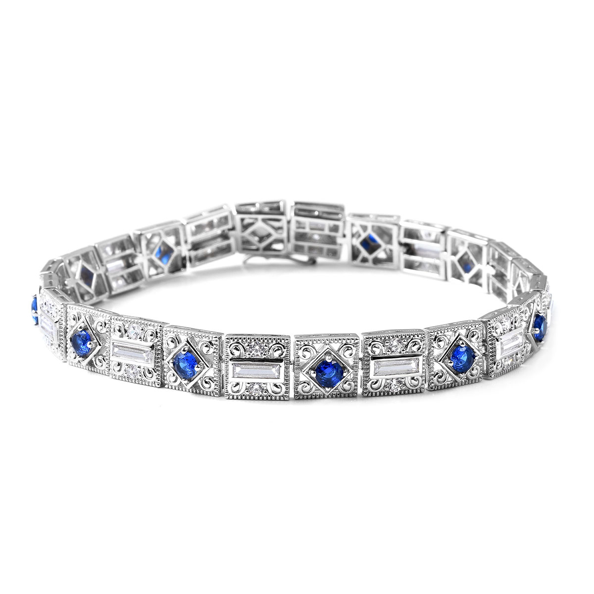 Xavier Simulated Blue And White Diamond Bracelet In Sterling Silver 7 25 18 67 G 15 07 Ctw