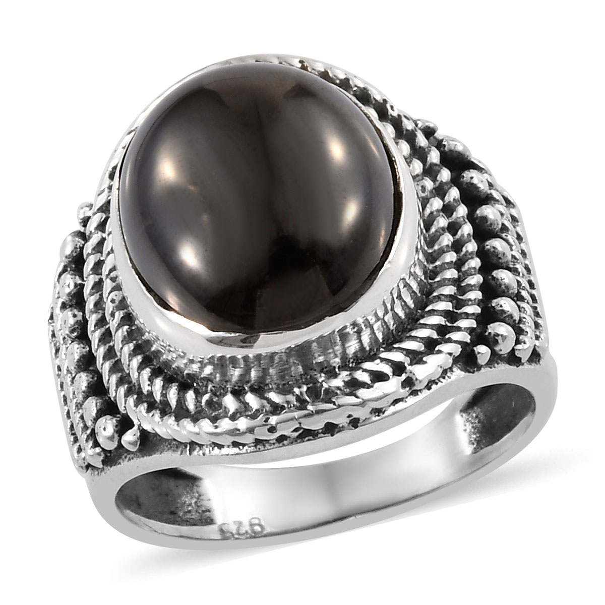 Artisan Crafted Silver Shungite Ring in Sterling Silver (Size 6 0) 3 14 ctw