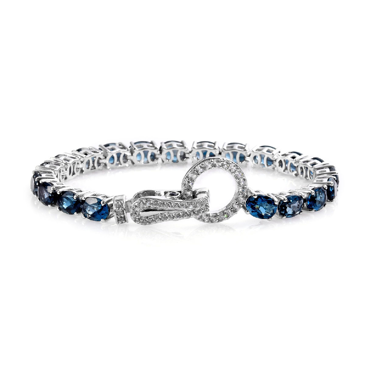 Blue Sapphire /& Diamond Tennis Bracelet Pear shape Sterling Silver Platinum over